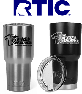 RTIC logo with Texas Promowear labeled insulated cups